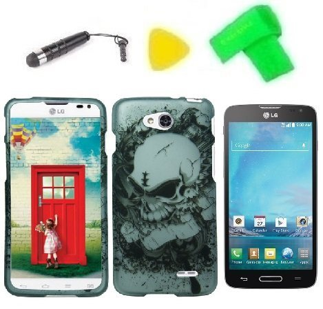 - Phone Case Cover Cell Phone Accessory + Extreme Band + Stylus Pen + LCD Screen Protector + Yellow Pry Tool for LG Optimus L90 (Silver Skull)
