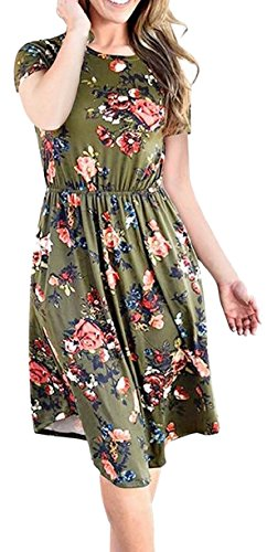 Jaycargogo Green Short Crew Accept Sleeve Floral Casual Womens Neck Dresses Waist qqSAp