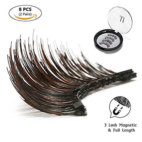 Magnetic Eyelashes 3 Magnets IMIM Magnetic False Eyelashes No Glue Magnetic Lashes Full Eye Natural Look Fake Eye Lashes Ultra Thin Reusable 3D Eyelashes (8 PCS/2 Pairs) by IMIM (Image #5)