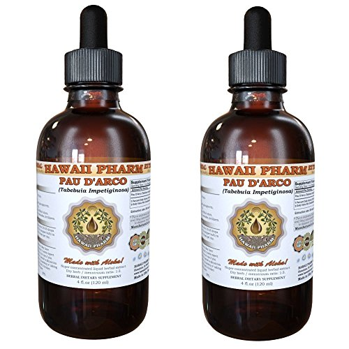 Pau d'arco Liquid Extract, Pau d'arco Liquid (Tabebuia impetiginosa) Tincture, Herbal Supplement, Hawaii Pharm, Made in USA, 2×4 fl.oz