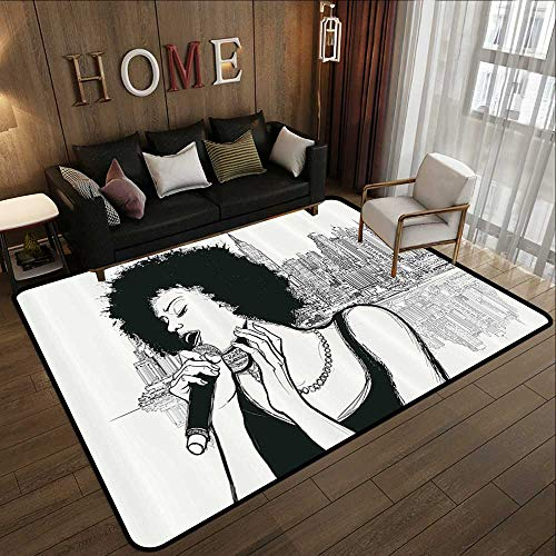 "Price comparison product image Rugs for Living RoomAfro Decor, American Jazz Music Girl Performing in Front of New York Manhattan Illustration, Black Grey 47""x 59"" Floor mats for Kids"