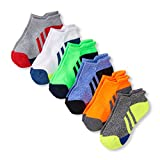 The Children's Place Big Boys' 6 Pack Sport Ankle Sock, Multi Clr, S 11-13