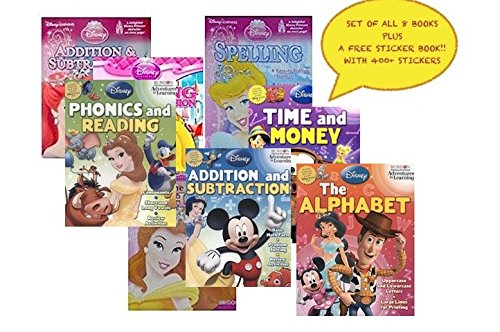 Disney Pixar 8 Book Set Educational Activity Workbooks Worksheets Preschool Pre K Kindergarden Prep 1st 2nd Graders Home School Learning Alphabet Math Spelling Addition Subtraction age 2 3 4 year olds