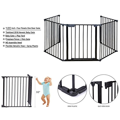 Upgraded Fireplace Safety Fence Baby Gate/Fence BBQ Pet Metal Fire Gate Baby Play Yard with Door 5 Panels Safety Gate for Pet/Toddler/Dog/Cat US Stock by Tenozek (Image #1)