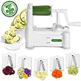 Spiralizer 5-Blade Vegetable Slicer, Strongest-and-Heaviest Spiral Slicer, Best Veggie Pasta Spaghetti Maker for Keto/Paleo/Gluten-Free, Comes with 4 Recipe Ebooks: more info