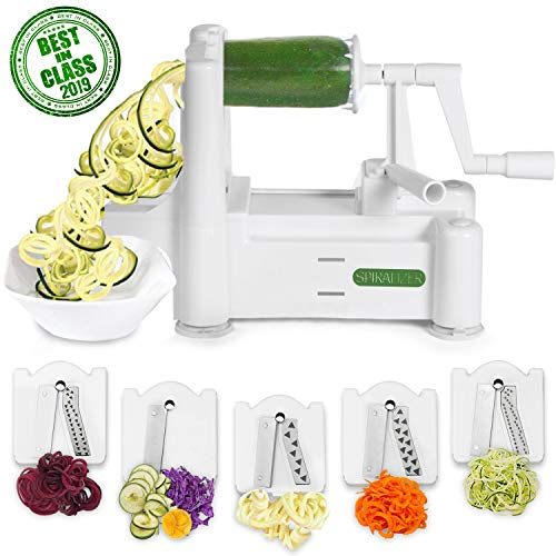 Spiralizer 5-Blade Vegetable Slicer, Strongest-and-Heaviest Spiral Slicer, Best Veggie Pasta Spaghetti Maker for Keto/Paleo/Gluten-Free, Comes with 4 Recipe Ebooks (Best Vegetable Pasta Maker)