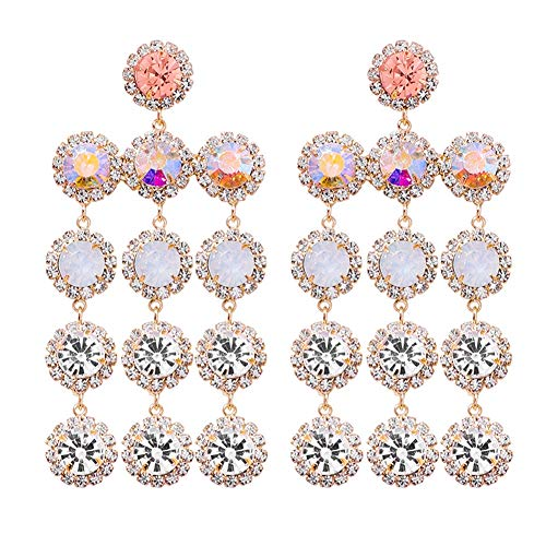 Jeweled Oval Hoop - J.Memi.FA Rhinestone Tassel Earrings Drop Dangle Gorgeous Fully Zircon Chandelier Hyperbole Jewelled Boho for Women,White