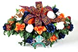 Auburn Tigers Fan Cemetery Tombstone Saddle featuring Burnt Orange, White and Blue Roses