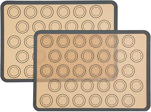 Silicone Macaron Baking Mat - Half sheet silicone liner for baking pans - making Macaroon/Pastry/Cookie/Biscuit - Non stick/BPA Free/Reusable (16.5