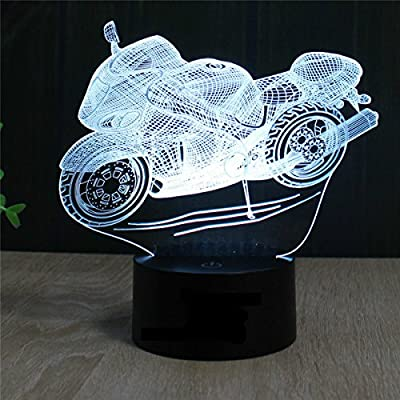 SUPERNIUDB Motorcycle 3D LED illusion Night Light 7 Color Switch Table Desk Lamp Gift