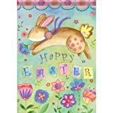 Bouncing Bunny Easter House Flag