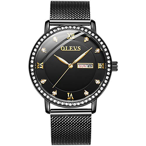 Watches for Men Waterproof Steel Milanese Loop Black Luxury Rhinestone Rose Gold Watch Black face with Day Date Luminous Dial Japanese Quartz Movement Analog Watch AY-G5881