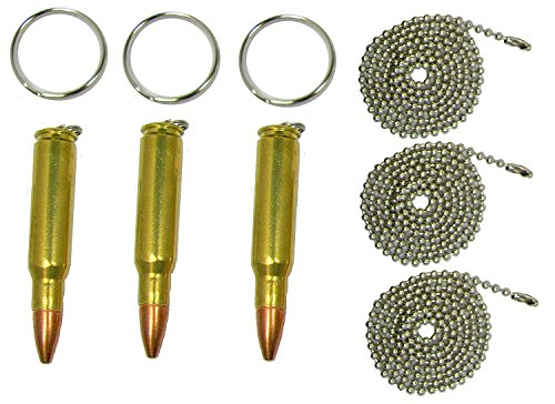 Set of Three Bullet Key Rings, Dogtag Necklace, or Pendants, 308 Sniper (Caliber Sniper Rifle)