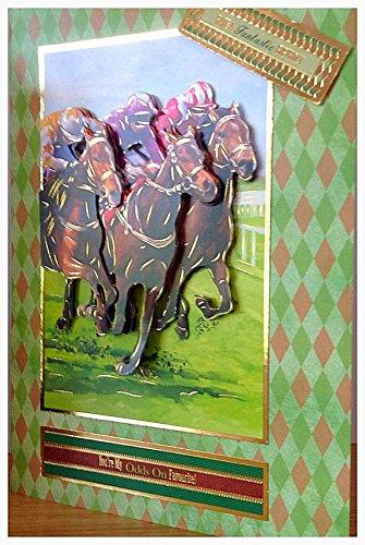 HORSE RACING HANDMADE CARD. HANDMADE BIRTHDAY CARD. HORSE RACING. SPORTS BIRTHDAY CARD JOCKEY.