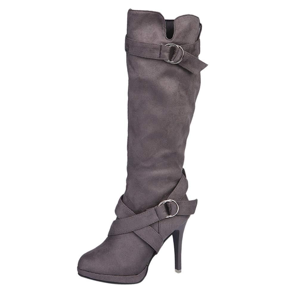 Yesmile Zapatos para Mujer❤️Zapatos Mujer Zapatos de Mujer Hebilla Plataforma Romana Tacones Altos Botas a la Rodilla Martin Botas largas