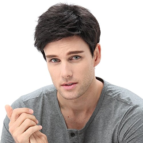 STfantasy Mens Male Guy Wigs Short Layered Wavy Halloween Cosplay Party Hair w/Cap, 12