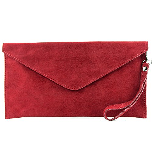 Red bag modamoda Evening ital bag bag bag Dark Wild de handcuffs T106 leather Shoulder Clutch Wrist bag Leather Underarm qHp8Uq