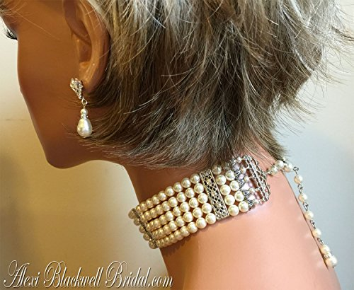 Pearl Choker Necklace Set 5 multi strands Swarovski Pearls in Cream Ivory or your choice of color Great Gatsby Downton Abbey Art Deco wedding jewelry by Alexi Blackwell Bridal