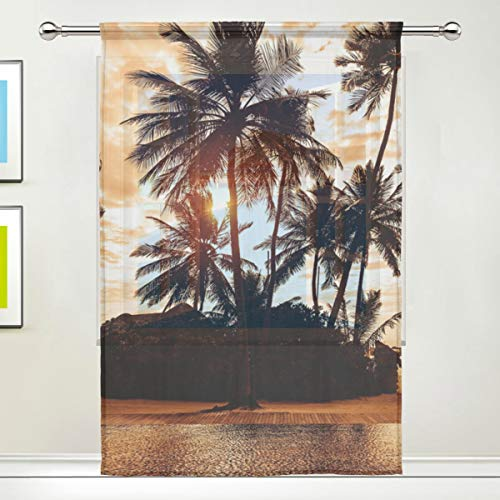 SEULIFE Window Sheer Curtain Tropical Beach Palm Tree Sunset for Door Kitchen Living Room Bedroom 55x78 inches, 1 Panel