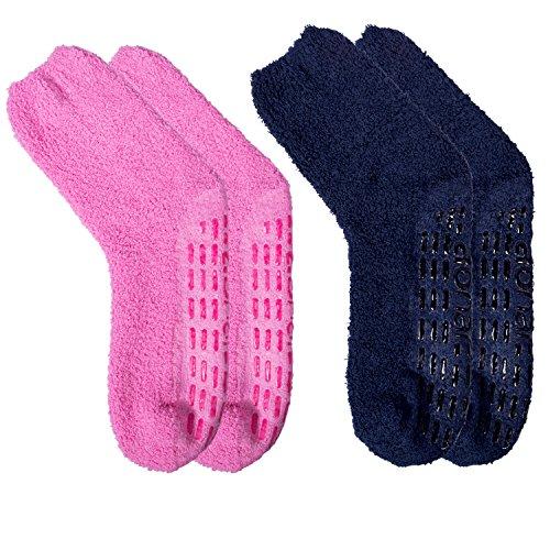 2-3 Pack Winter Indoors Non-Slip Microfiber Fuzzy Crew Warm Soft Socks for Women and Men - Micro Slip
