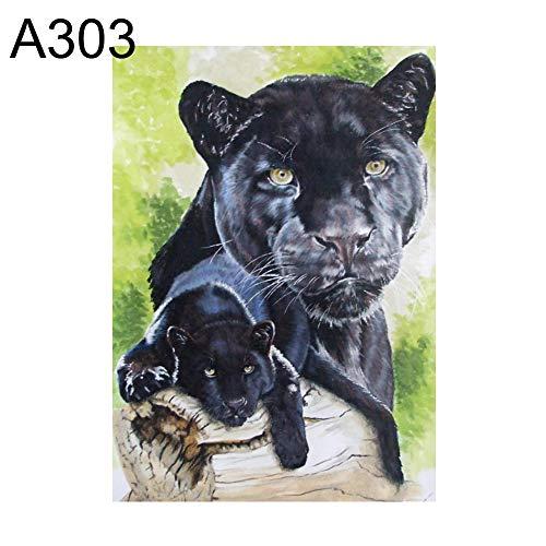 yanQxIzbiu Diamond Paintings, Art Picture for Home Wall Decor, 30x40cm Panda Giraffe Cat Panther Cross Stitch DIY Full Round Diamond Painting - A303 ()