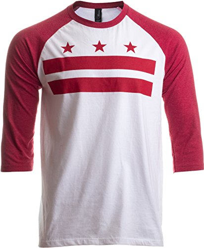 Washington, DC Flag | D.C. Capitol Raglan Shirt, Baseball T-Shirt for Men Women-(Raglan,3XL)