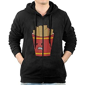 Men's Hoodie Sweatshirt French Fries Long Sleeve Zip-up Hooded Sweatshirt Jacket XL