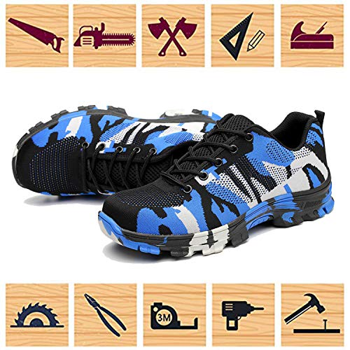 Toe Jackshibo Steel Breathable Shoes Camouflage Construction Shoes Industrial Mens Safety Shoes Outdoor Womens hiking Work Blue Footwear rwn8g0Aqr