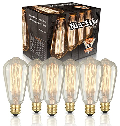 Original Edison Vintage Bulbs - 6 pack - Blaze Bulbs - 60W Incandescent Industrial Bulb - 250 lumens - Clear Glass - Long Life Handmade ST64 Squirrel Cage - Dimmable
