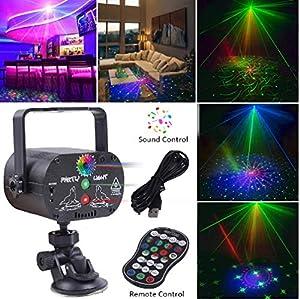 Laser Party Lights, RGB 3 Lens DJ Disco Stage Laser Light Sound Activated Led Projector for Christmas Halloween Decorations Gift Birthday Wedding Karaoke KTV Bar (Color: BALK1)