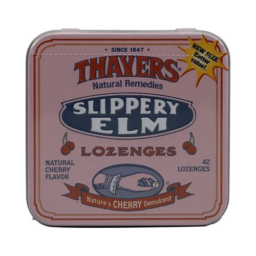 Elm Slippery Cherry - Thayers Slippery Elm Lozenges Cherry - 42 Lozenges - Case of 10
