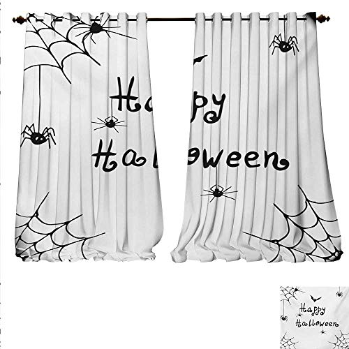 familytaste Decorative Curtains for Living Room Happy Halloween Celebration Monochrome Hand Drawn Style Creepy Doodle Artwork Room Darkening Wide Curtains W84 x L108 Black -
