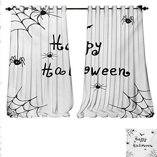 familytaste Decorative Curtains for Living Room Happy Halloween Celebration Monochrome Hand Drawn Style Creepy Doodle Artwork Room Darkening Wide Curtains W84 x L108 Black White.jpg]()