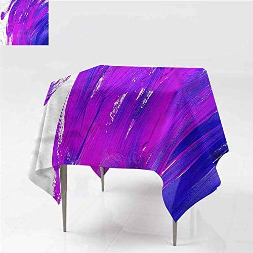 FANOEWI Creative Square Tablecloth Purple Oil Painting Brush Effect Buffet Table,Parties,Holiday Dinner,Wedding,Picnic,Patio,Kitchen,Dining,Family Room W60 xL60