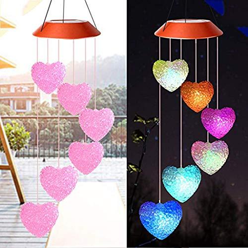 Lemoning Solar Powered Wind Chime Light LED Garden Hanging Spinner Lamp Color Changing