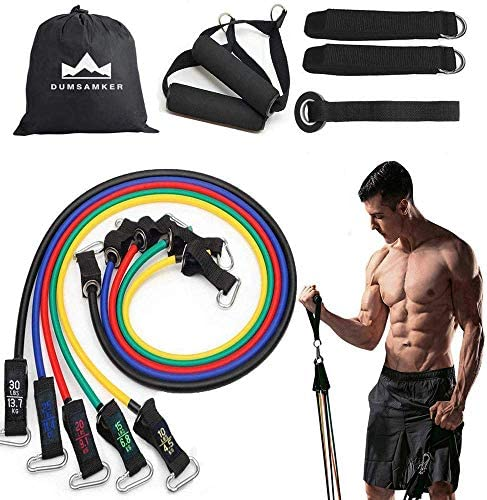 Perfect Muscle Builder Exercise Bands Accessories Indoor Pilates Yoga Physical Therapy AmoVee 12Pcs Premium Resistance Bands Set with Memory Foam Antiskid Jump Rope