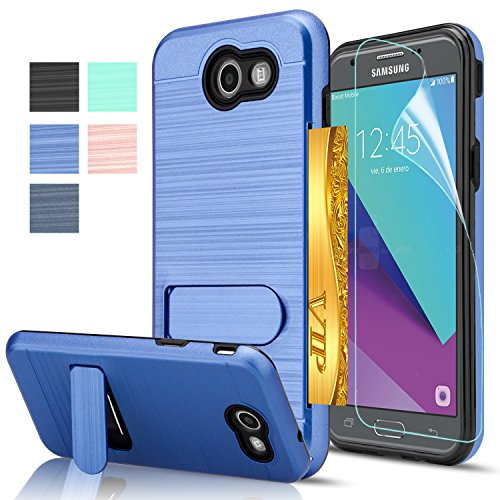 Belt Clip Oem Cellular Accessory (Galaxy J3 Prime Case,Galaxy J3 Emerge/J3 Mission/J3 Eclipse/J3 Luna Pro/Sol 2/Amp Prime 2/Express Prime 2 Case with HD Film,AnoKe[Card Slots Holder]Kickstand Plastic TPU Case for J3 2017 KC1 Deep Blue)