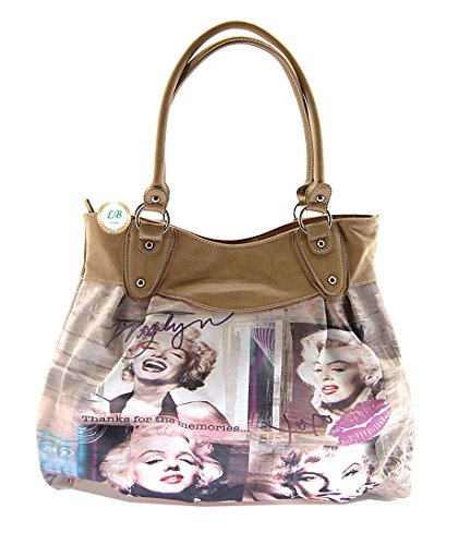 Marilyn Monroe Large Purse Collage (Taupe) (Marilyn Monroe Luggage)