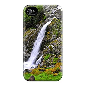 Tpu Case For Iphone 4/4s With Lovely Mountain Waterfall Hdr