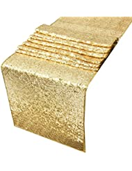 Sequin Table Runners Gold AMAZLINEN 12 By 108 Inch Glitter Gold Table Runner Gold  Event Party Supplies Fabric Decorations For Wedding Birthday Baby Shower