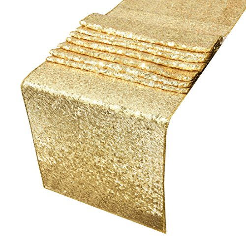 Sequin Table Runners Gold-AMAZLINEN 12 By 108 Inch Glitter Gold Table Runner-Gold Event Party Supplies Fabric Decorations For Wedding Birthday Baby (Gold Runners For Tables)
