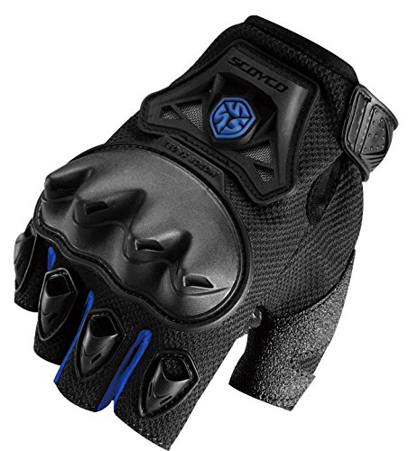 CRAZY AL'S CAMC29D Motorcycle Fingerless Gloves Sports Protective Gear Shock Resistant Padded Fingerless Safety Breathable Motorcycle Gloves Black Red Blue Green M/L/XL (Blue, L) by Crazy Al's