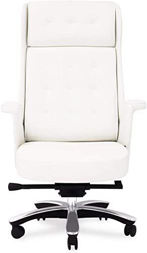 Rockefeller Genuine Leather Aluminum Base High Back Executive Chair – White