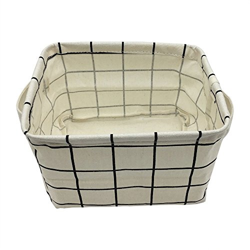 Small Storage Basket with Handles, Cotton Fabric Foldable Storage Organizer Bins for Nursery Kids Room Shelves & Desks (White (Plaid Desk)