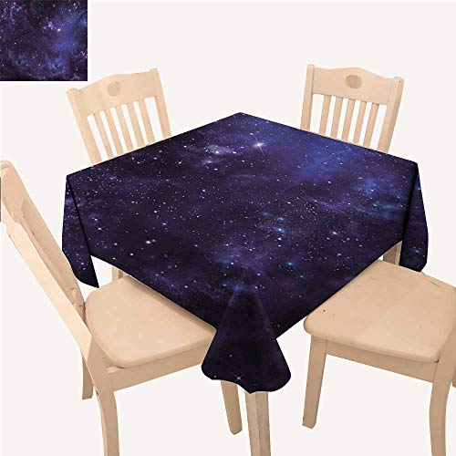 Angoueleven Galaxy Fabric Tablecloth Celestial Stars in Night Sky Stardust in Clouds Magical Fantasy World of Space Small Square Tablecloth Black Navy Blue W 36