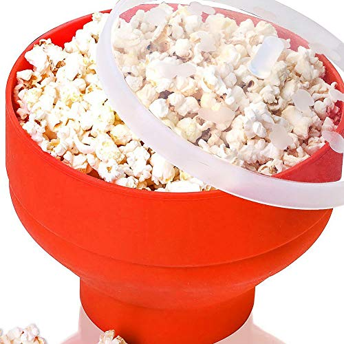 Popcorn Silicone Bowl, Microwave Collapsible High Temperature Resistance Hot Air Popcorn Popper Bucket Container Baking Maker with ()