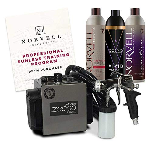 Norvell Sunless Kit - Z3000 Professional Mobile HVLP Spray Tan Airbrush Machine System + 8 oz Tanning Solutions in Ultra Vivid 'Cosmo', Venetian & Dark + Norvell Training Program (Retail Value $1,150) (Best Airbrush Spray Tan)
