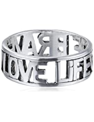 """Sterling Silver """"Love Life Be Brave"""" Cut Outs Ring, Size 7"""