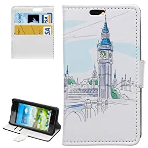 Bell Tower Pattern Horizontal con Solapa Magnetic Buckle Funda con Tapa Case Cover Slots & Wallet Card Holder & Para Huawei Ascend Y360
