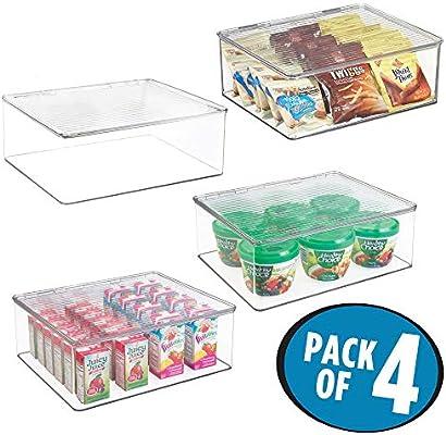 mDesign Juego de 4 fiambreras con tapa para el frigorífico – Cajas de plástico para guardar alimentos – Organizador de nevera para tarritos infantiles y otros productos – transparente: Amazon.es: Hogar